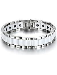 JewelryWe Schmuck Herren Magnet Armband, Edelstahl Keramik, Fashion I Rechteck Link Magnetarmband Armreif, Silber Weiss