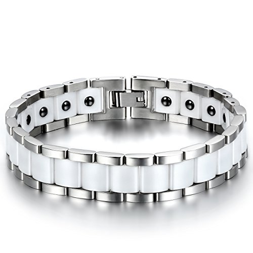JewelryWe Schmuck Herren Magnet Armband, Edelstahl Keramik, Fashion I Rechteck Link Magnetarmband Armreif, Silber Weiß