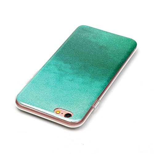 iPhone 6 Plus Case,iPhone 6S Plus Hülle - Felfy Apple iPhone 6 Plus/6S Plus 5.5 Zoll Ultra Slim Ultradünn Case Soft Gel Flexibel TPU Silikonhülle mit Bling Sternchen Gradient Farbe Design Protective S Mint Grün Case