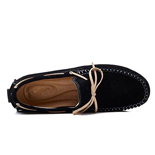 YY-Rui les hommes de glisser le cuir des chaussures plates conduite occasionnel confort Noir
