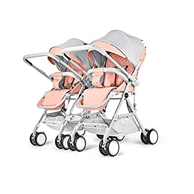 MYRCLMY Baby Strollers Double Pushchair Twins Tandem Pushchair,Lightweight With Convertible Bassinet Stroller Extended Canopy/Large Storage Basket,Pink
