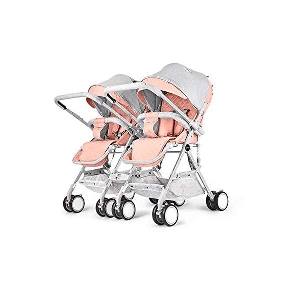 MYRCLMY Baby Strollers Double Pushchair Twins Tandem Pushchair,Lightweight With Convertible Bassinet Stroller Extended Canopy/Large Storage Basket,Pink  *LIGHTWEIGHT - Travel-friendly lightweight design is perfect for traveling and day trips. *EXTRA SPACE - Multi-position tilting seat and rotating calf support can be easily adjusted to ensure baby comfort; large storage basket and two integrated seat back pockets provide extra space for your baby. *RECLINING SEAT -- Reclining seat offers 5-point safety restraint system and accommodates child to 50KG per seat. 1
