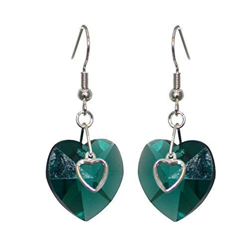 Smaragd-herz-swarovski-ohrringe (PASSIONATE Versilberte Swarovski Smaragd Herz Kristall Ohrringe stummellenker)