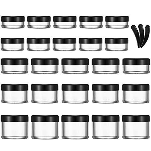 Allecommercial 25 Stück Leere transparente Plastik-Probenbehälter, Reise-Kosmetikbehälter mit 3 Mini-Spatel für Creme, Probe, Puder, Make-up-Aufbewahrung (3/5/10/15/20 ml)