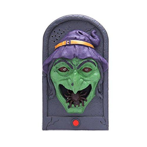 Tinksky Halloween-Hexe-Türklingel beleuchten Augapfel-Sprechen furchtsame Töne für Partei-Stab-Tür-Dekorationen scherzt (House Haunted Dekoration Tür)