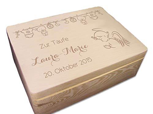 MidaCreativ zur Taufe, Holz-Geschenkbox Gr. 2 Kiefer incl. Auswahl-Lasergravur (TF4)