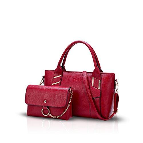 NICOLE&DORIS Nuovo Moda Donne Crossbody Borsetta 2PCS Borsa a Tracolla PU Rosso Rosso