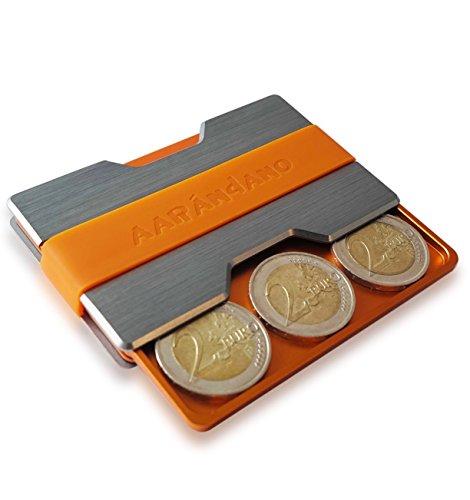 AARÁNDANO AARÁNDANO ? Kreditkartenetui mit Münzfach - Slim Wallet + CoinCard aus stabilem Aluminium mit Geldklammer - RFID & NFC Schutz - für bis zu 16 Scheckkarten - mit 3 Silikon-Bändern inklusive