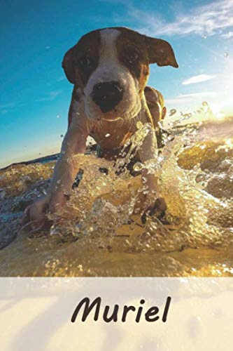 Muriel: Personalisiertes blanko Notizbuch / Malbuch mit Namen: Muriel - individuelles Namensbuch mit Hunde Motiv | perfekt als Geschenkidee