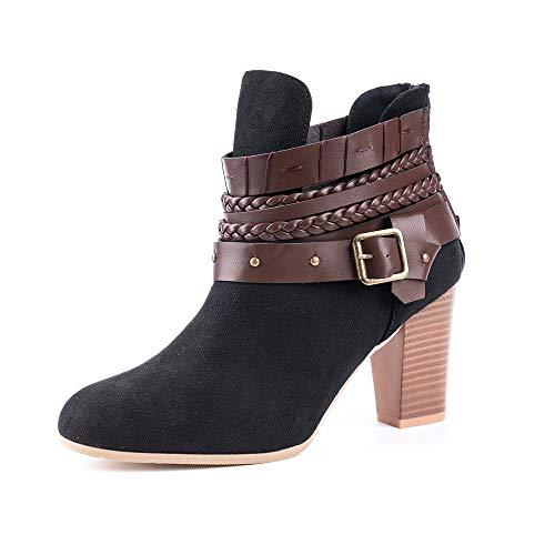 Mujer Botas con Tacón Cuña Altos Cremallera Otoño Chelsea de Vestir Piel Transpirable Botines Zapatos...