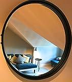 Steel Magnolias Rund Abgeschrägtes Glas Spiegel 55cm Durchmesser Matt Schwarz Farbe