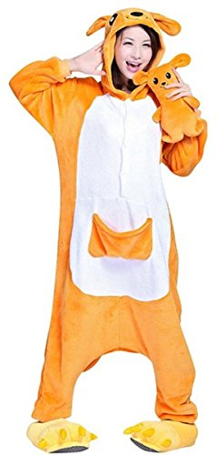WOWcosplay Jumpsuit Tier Cartoon Fasching Halloween Kost¨¹m Sleepsuit Cosplay Fleece-Overall Pyjama Schlafanzug Erwachsene Unisex Kigurumi Tier Onesize,Kangaroo M