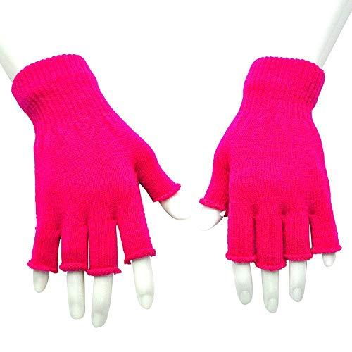 COZOCO Unisex Männer Frauen Handschuhe Fingerlos gestrickt häkeln Mitten Halbfinger Erwachsene warm Winter Handschuhe solid Mitten(Hot Pink)