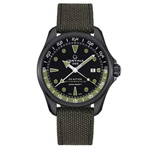 Certina DS Action GMT Powermatic 80 schwarz Gurt grün C032.429.38.051.00