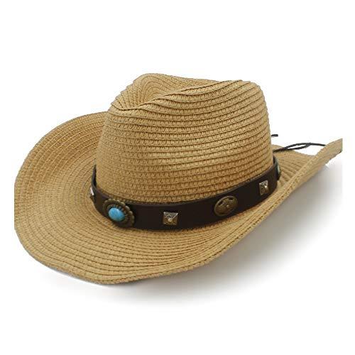 MISSMARCH Hipster Decoración de Metal Sombrero para el Sol Sombrero de Rafia Verano para Mujer Sombrero de Paja Sombrero de Vaquero Cuero de Hombre con Turquesa Decorativo Cuadrado Remaches Floral