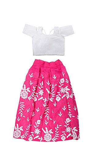 Sat Creation Girl's Velvet Semi-Stitched Lehanga Choli (SAT 45 _Pink_ Free Size)
