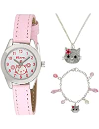 Ravel Children\'s Joyero: Reloj con brillantes e ilustraciones de gatitos, pulsera y collar a juego, presentado en caja