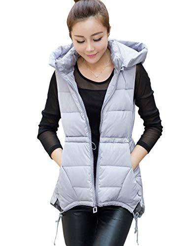 Battercake gilet trapuntato donna invernali eleganti monocromo sleeveless caldo gilet cappotto casuale donne incappucciato casual moda taglie forti giaccone giubbino outerwear