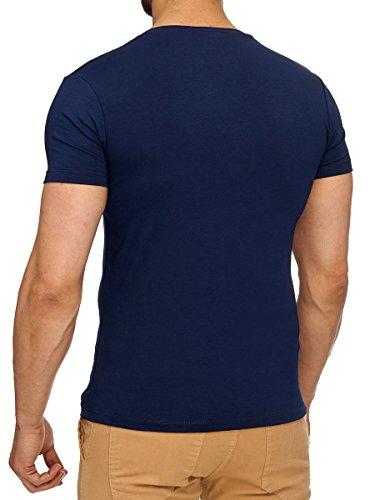 L.A.B 1928 T-Shirt Herren Shirt Kurzarm V-Ausschnitt V-Neck Navy