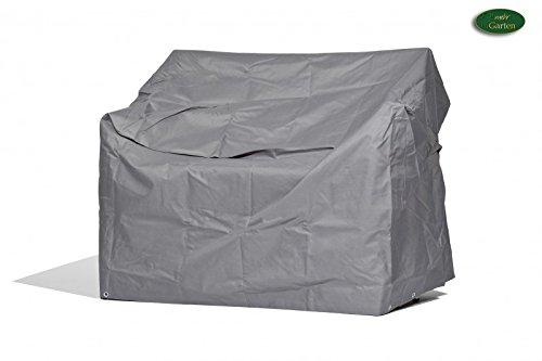 Premium Schutzhülle für Gartenbank/Landhausbank aus Polyester Oxford 600D - lichtgrau - von 'mehr Garten' - für 3-Sitzer