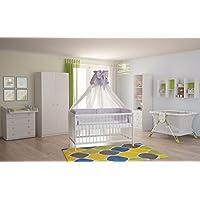 Preisvergleich für Polini Kids Babyzimmer Kinderzimmer Komplett Set Weiß 4-Teilig
