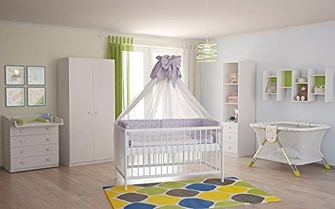 Polini Kids Babyzimmer Kinderzimmer komplett Set weiß 4-teilig mit Babybett,