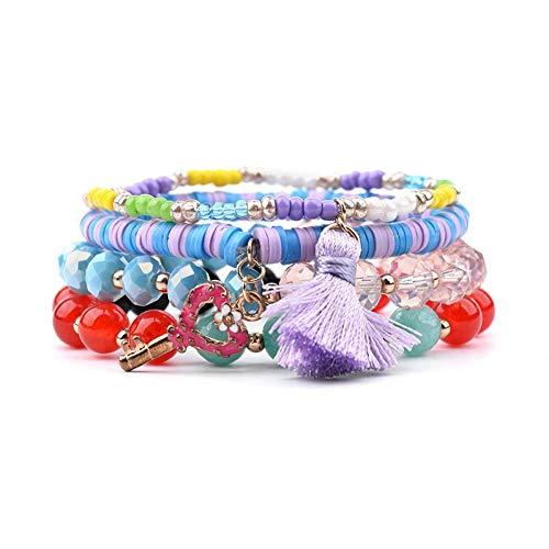 DMUEZW 4 Teile/Satz Herz Schlüssel Quaste Charme Armbänder Für Frauen Gummi Kunststoff Quarz Stein Kristall Perlen Armband