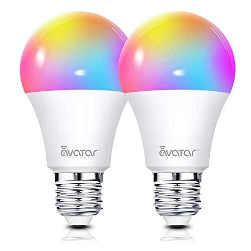 Smart LED Lampen, Alexa Wlan Glühbirne E27 7W 910lm RGBW Dimmbar Licht 16 Millionen Farben Kein Hub Erforderlich Kompatibel mit Google Home IFTTT by Avatar Controls(2 Pack) (Remote Control Light Bulb Farben)