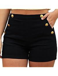 Kurzehose Damen,Sonnena Sommer Mode Frauen Hohe Taille Übergröße Hotpants  Lässig Solide Beach Shorts Mini Hosen Damen Lose… 71ed9f91a6