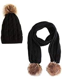 Conjunto grueso grueso de punto gorros Hecho a mano de invierno para niños  Beanie Hat bufanda 2d1f4dd0daf