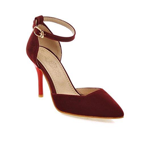 Da donna-Tacchi-Matrimonio Casual Serata e festa-Cinturino alla caviglia Comoda-A stiletto-Felpato-Nero Rosso Beige Red