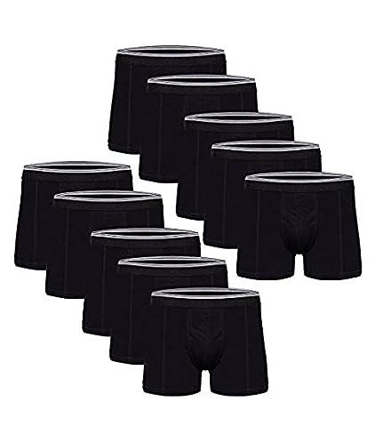 Kendindza Herren Men Baumwolle Boxershorts Unterwäsche Pants 1er 3er 5er 10er Pack (XXL, Schwarz-10er