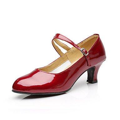 Scarpe da ballo-Non personalizzabile-Da donna-Balli latino-americani Jazz Tip tap Danza moderna Scarpe da swing-Quadrato-Finta pelle-Nero Gold
