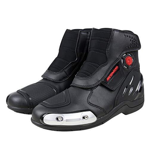 WERT Scarpe da Moto da Uomo Armature da Corsa Stivali da Moto da Strada Protettivi Stivaletti Impermeabili Stivali da Equitazione,Black-44