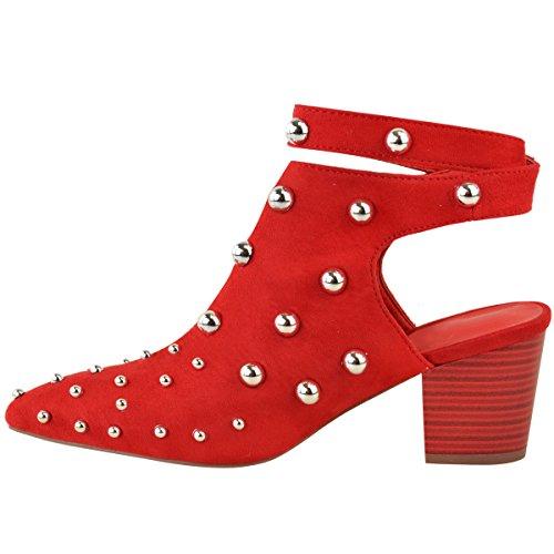 FASHION Thirsty NUOVO da donna borchiato tacco basso e Largo Stivali Caviglia da sera Sandali Taglia rosso camoscio sintetico / ROSSO TACCO