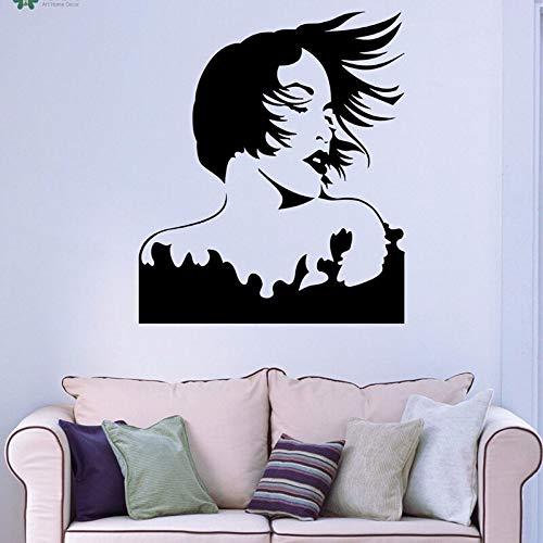 hetingyue Vinyl wandtattoo Film Frau schöne frisur abnehmbare Schlafzimmer Dekoration Aufkleber 63x73cm