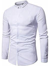 LuckyGirls Camisetas Hombre Originales Manga Larga Retro Mezclilla Polos Basicas Negocio Camisas