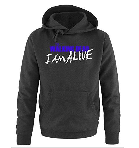 Comedy Shirts - The Walking Dead - I AM ALIVE - Uomo Hoodie cappuccio sweater - taglia S-XXL different colors nero / bianco-azzurro