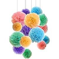 Pompones de papel, flores de papel, para decoración y celebración de fiestas. 15 unidades de 20, 25, 36 cm