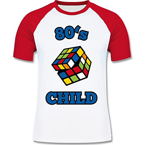 Shirtracer Statement Shirts - 80's Child - Zauberwürfel - Herren Baseball Shirt Weiß/Rot