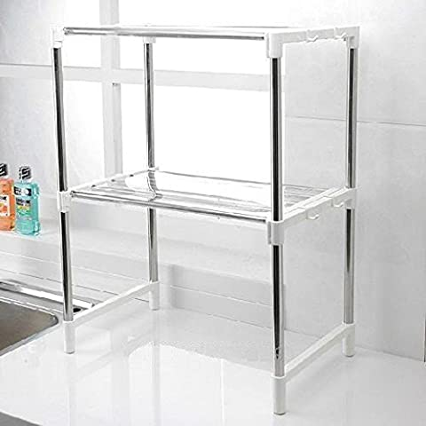 BCletty New Multi-function Double Microwave Oven Stand Shelf Side Organizer Storage Unit Rack With Hanging Hook Keep Your Kitchen Tidy UK