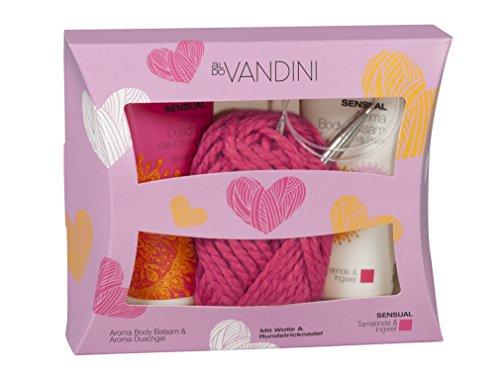 aldoVANDINI Sensual Geschenkset mit Duschgel, Body Lotion und Strickset, für Frauen, vegan - 1 er Pack (1 x 1 Set)
