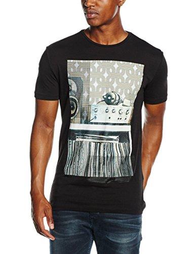 Antony Morato T Shirt Girocollo Stampa 70 S Hi-Fi, Maglietta da Uomo, Nero, M