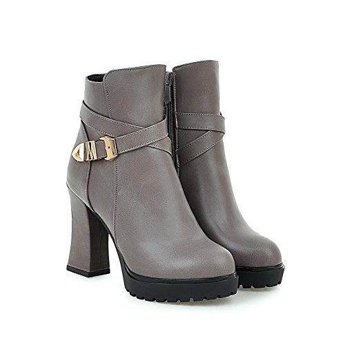 AgooLar Damen Hoher Absatz Rein Schließen Zehe Reißverschluss Stiefel mit Metallisch, Grau, 35