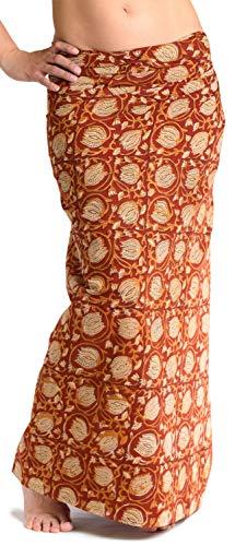 ufash Damen Sarong Lungi Pareo Rock aus Indien, traditionell handbedruckt, Unisex für Männer und Frauen. Boho Gipsy & Hippie Röcke, Rot 5