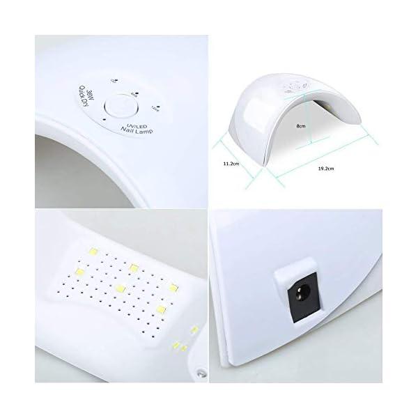Saint-Acior 36W UV/LED Lámpara Secador de Uñas Esmaltes Semipermanente 10pcs Kit Uñas de Gel Soak off 8ml Top Coat Base…