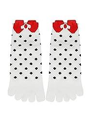 One Size Regular , White : Generic Women Stretchy Cuffs Low Cut Dots Bowknot Pattern Toe Socks 9-11