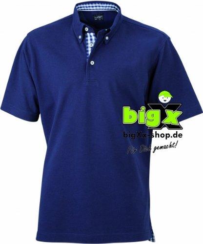 Herren Button-Down-Polo mit modischem Karo-Einsatz, Farbe:navy/navy-white;Größe:XL (Button-down-kragen-shirt)