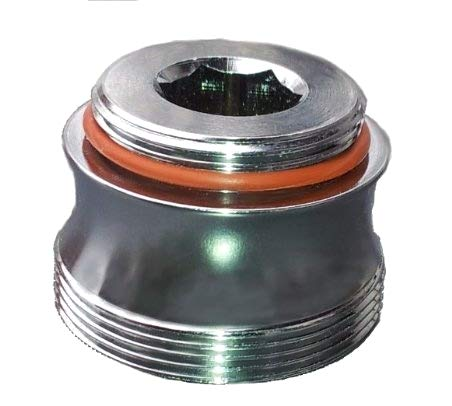 M22 AG x M28 AG Chrom, Badewannen Armatur Adapter, ästhetisch geschwungen, für Perlstrahler Gewinde am Wasserhahn. Badewannen Auslauf M28x M22, für Luftsprudler Gewinde um z.B. Aquadea Wasser-Wirbler oder Filter wie SanUno, Okato anzuschließen (Wasserhahn Luftsprudler Adapter)