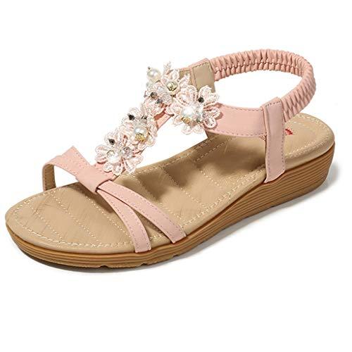TOPKEAL Damen Sommer Sandalen Flache Lässige Sandalen mit Gummiband aus Böhmischer Zehenblume Bequeme Strandschuhe Pantoletten Frauen Römer Schuhe (Rosa A, 39 CN) -